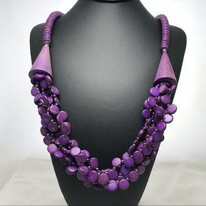 Vintage Purple Wood Bead Statement Necklace